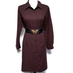 Vintage Button Down Brown Butterfly Belted Dress